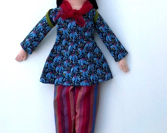 Girl doll with a Backpack wool softie