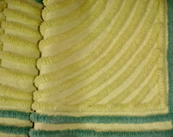 Exotic 1950s Plush Chartreuse and Emerald Vintage Cotton Chenille Bedspread Fabric 19 x 24 Inches