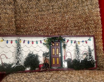 Christmas front door shadow box