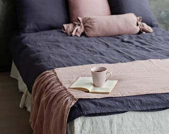 Linen bed scarf with ruffles. 12 colours linen bed sash. Linen bedding elements for decorating bedroom.