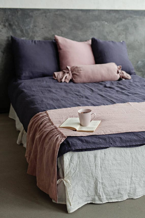 Linen bed scarf with ruffles. 12 colours linen bed sash. Linen