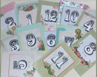 Table Numbers, Table Names, Table Cards, Number Cards, Wedding Table Numbers, Vintage Table Numbers, Mixed Table Number Cards,