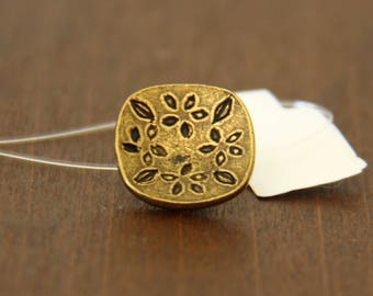 Rounded Square with Flowers Antique Brass Buttons - BUT 009