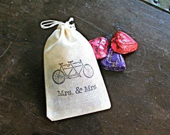 Same sex wedding favor bags, set of 50 drawstring cotton bags, tandem bike, Mrs and Mrs, Lesbian wedding favors, party favor bag, cloth bags
