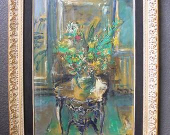 Dimitrie Berea Original Vintage European American New York Art Post Impressionist French Fauve Still Life Interior Gouache Oil Painting