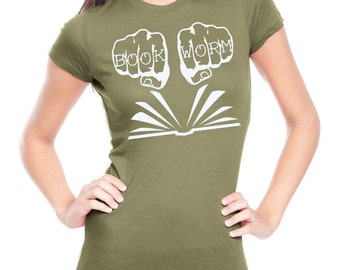 Book Worm Shirt Love to Read Shirt Screen Printed Ladies Reading Clothing Librarian Shirt Fiction Books