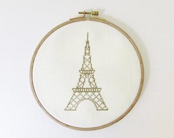 Eiffel Tower Modern cross stitch pattern PDF - Instant download