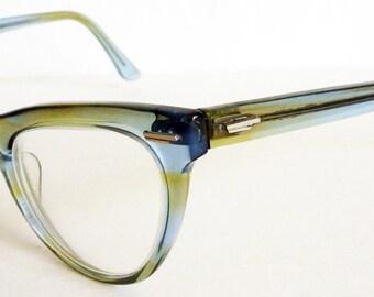 Mid Century Clear Blue Cat Eye Glasses Vintage Retro Shuron