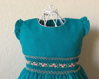 Size 2 Hand Smocked Girls' Dress - Teal with Accent Flowers