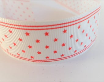 White cotton ribbon with red stars