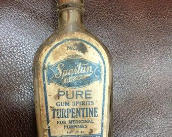 Bouteille de térébenthine spartiate des années 1930