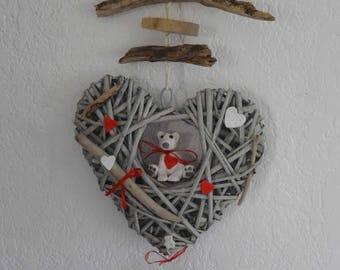 Hanging Driftwood heart with Teddy bear ceramic basket