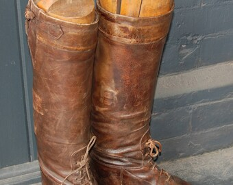 1920s-'30s Art Deco era All Leather Tall Boots, Field Boots, Riding Boots -- Free US Shipping!