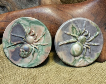 NEW ~ Tarantula Spider carved In Large Camouflage Ribbon Jasper Round Disc