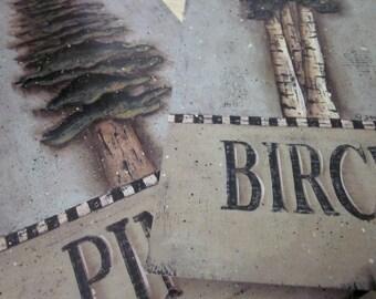 Tree Prints, Birch or Pine. Inspirational Quotations, Ralph Waldo Emerson, Lucy Larcom. Lodge Cabin New England style folk art, Donna Atkins