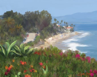 Santa Barbara art,Butterfly Beach canvas prints, beach canvas prints,Santa Barbara Beach, Montecito Beach, Painting in Giclee Prints.