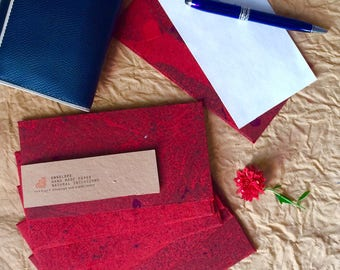 25, Red Handmade Paper Envelopes Coin Envelopes Cash Envelope Cash Wallet BULK