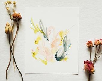Desert - Modern Abstract Watercolor Print - Contemporary Watercolor Artwork - 5x5 8x8 8x10