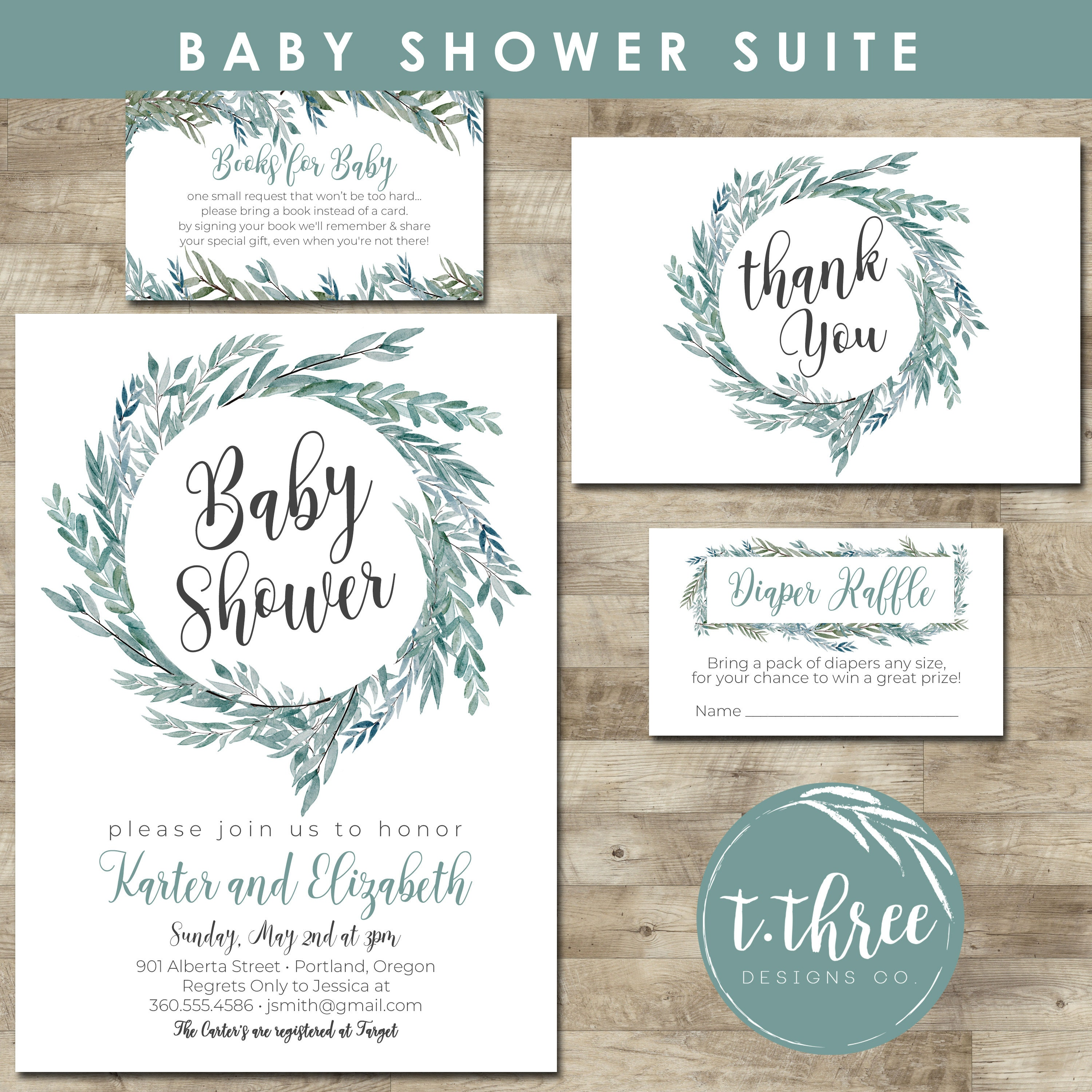 Printable Greenery Baby Shower Invitation, Gender Neutral Baby ...