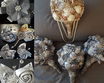 Brooch Bouquets, Boutonnieres and Corsages Custom Made to Order
