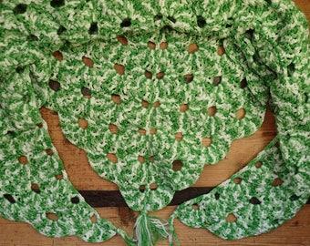 Green and white handmade crochet shawl
