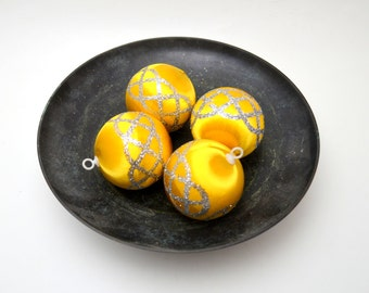 Vintage Satin Sheen Christmas Ornaments, Yellow with Silver Glitter Pattern, Set of 4, circa 1960s