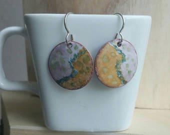 Follow Your Own Path hand painted torch fired vitreous enamel abstract art earrings