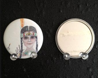 Wednesday Addams at Camp Chippewa original art pocket mirror