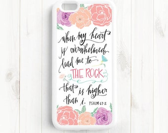Psalm 61:2 Lead me to the rock that is higher than I. Bible Verse Quote, iPhone 7 4s 5s 5c 5 6 Plus Case, Galaxy S4 S5 Case, Note 3 4 Qt51