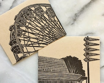 Santa Monica Neighborhood Letterpress Greeting Cards, Set of 4