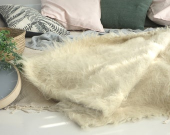 Natural Sheep Wool Throw White Bed Blanket Bed Scarf Shaggy Luxury Throw  Fluffy Long Pile Throw