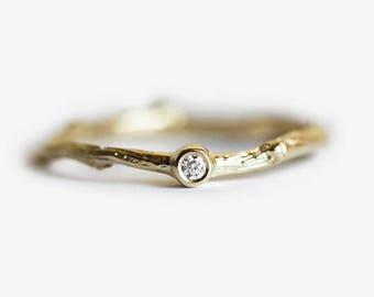 Diamond Engagement Ring, Delicate Engagement Ring, Small Diamond Ring, Tiny Diamond Ring, Delicate Engagement Ring, Branch Diamond Ring