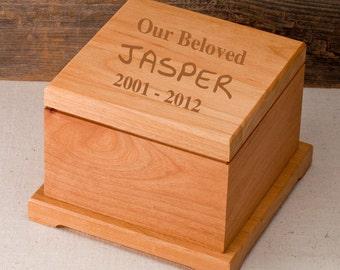 Engraved Wooden Pet Memorial Box - Personalized Dog Memorial - Pet Memorial Gifts - RO134