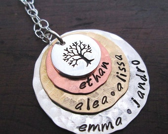 Grandma Necklace - Family Tree necklace  - personalized necklace-  Extra Large Mothers Necklace - grandmother necklace - Personalized gift