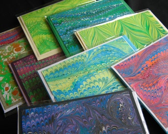 6 Hand-Marbled Blank Cards - Random Assortment of Six Greeting Card with Envelopes Assorted Marbled Paper 4 1/4 x 5 1/2 inches