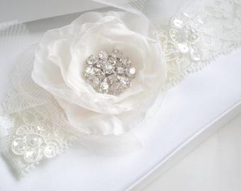 Luxe Rhinestone Flower Bridal Garter  Set...  Lace and Rhinestone Design