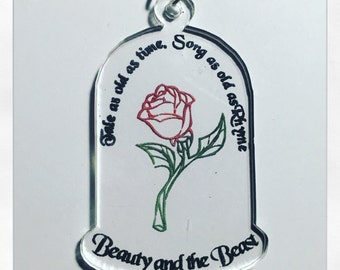 Beauty And The Beast Inspired Enchanted Rose Acrylic Lyrics Necklace