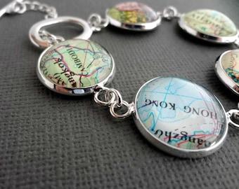 Personalized Jewelry, Silver Bracelet, Customised Jewellery, Bride Gift, Spring Wedding, Map Bracelet, Travel Themed