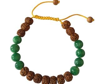 Rudraksha and Green Jade Tibetan Wrist Mala Yoga Bracelet