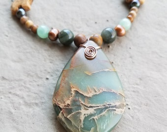 Snakeskin Jasper Pendant Necklace