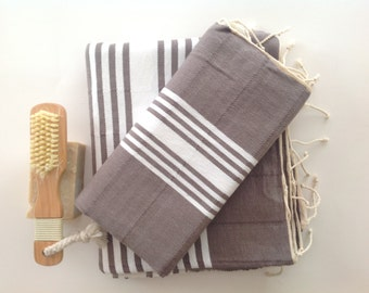 Natural Turkish BATH and Head Towel Set: Peshtemal and Peshkir set, SPA, set, Hammam, yoga, , Grey , valentine's day , gift