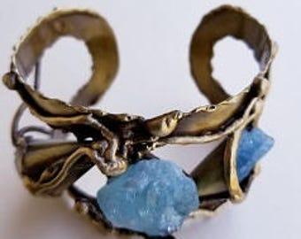 Brass Cuff Bracelet  with Aquamarine