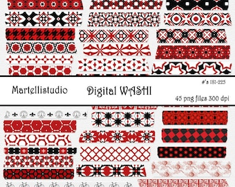 Red and Black Washi digital tape 181-225