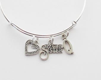 New Sister Gift, Sister Bangle, Sister Bracelet, Special Sister Jewelry, New Sister bracelet, Heart Bracelet, Initial bangle