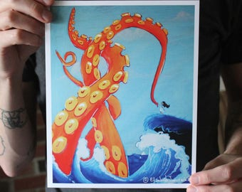 Giant Squid Becoming Friends with a Little Girl; Fine Art Print