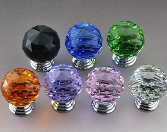 "0.8"" 20 mm Small Glass Knobs Crystal Dresser Knob Drawer Knobs Pull / Cabinet Pulls Knobs Colorful pink black blue purple brown green clear"