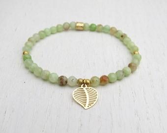 Green jade bracelet, Gold leaf bracelet, Jade bead bracelet