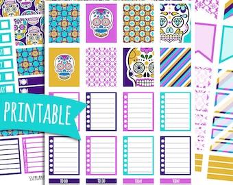 Sugar Skulls PRINTABLE Planner Stickers for Erin Condren Vertical | Sticker Printables | Dia de los Muertos | Day of the Dead | Mexican