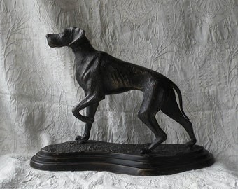 Large French Antique Bronzed Dog Statuette on Base, Vintage Dog Sculpture, Bronzed Statue, Hunting Dog sculpture, Pointer Dog Figurine