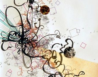 "Culmination, abstract, original, handmade drawing, 16"" x 17"""